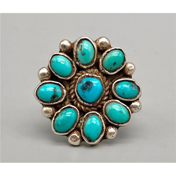 Nice Turquoise Cluster Ring