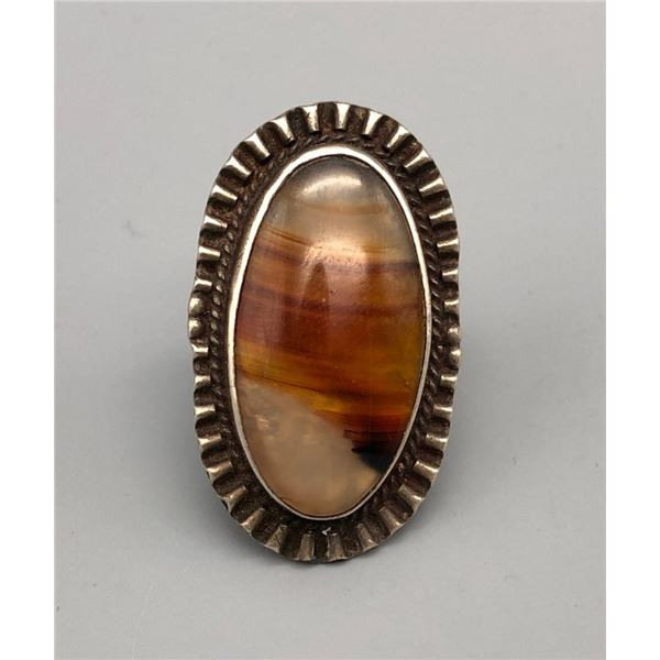 Older Sterling Silver and Montana Agate Ring