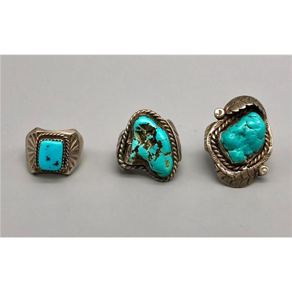 Three VIntage Turquoise Rings