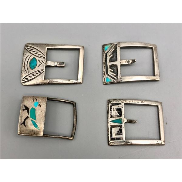 Group of Four Older Inlay Buckles
