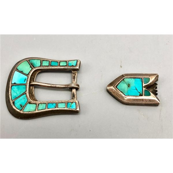 Older Turquoise Inlay Belt Buckle with Tip