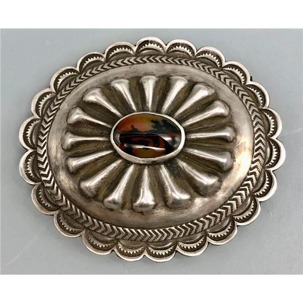 Vintage Belt Buckle with Petrified Wood