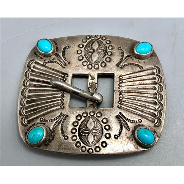1930s Turquoise and Sterling Silver Buckle