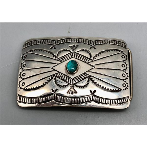 Sterling Silver and Turquoise Belt Buckle- Blackgoat