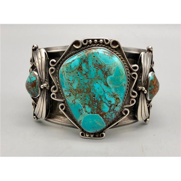 Large Vintage Three Stone Cuff Bracelet