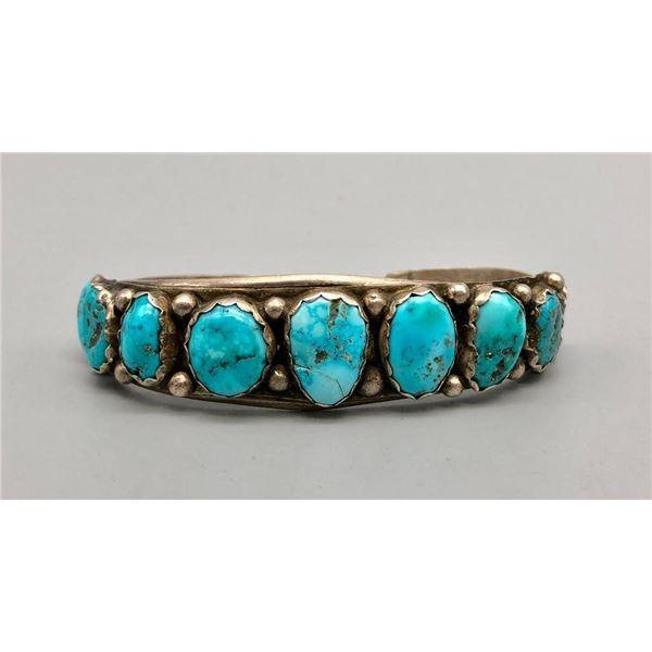 9 Stone Turquoise Cuff Bracelet