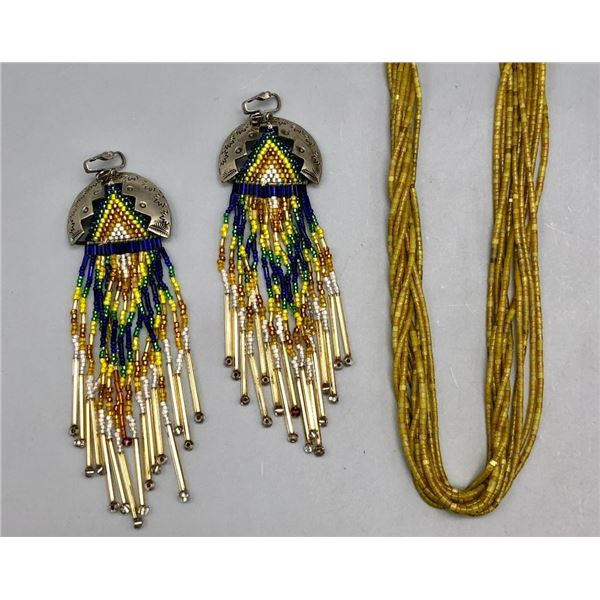 10 Strand Serpentine Necklace and Pair of Beaded Earrings
