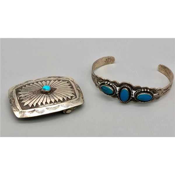 Fred Harvey Era Bracelet and Small Belt Buckle