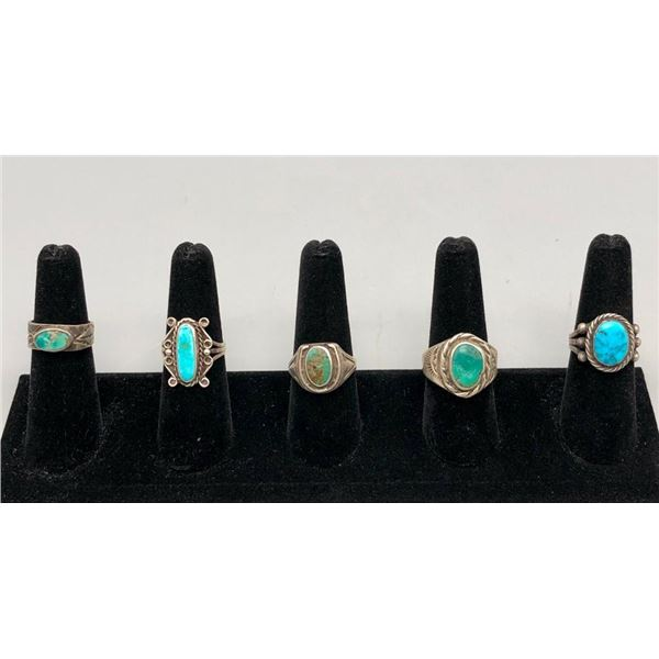 Five Older Turquoise Rings