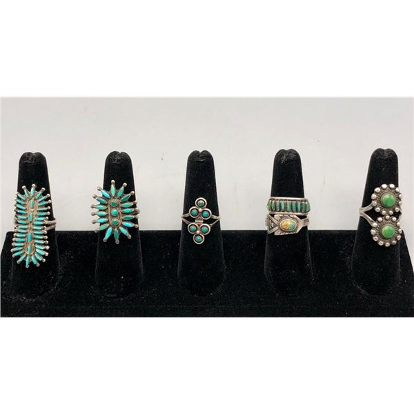 Six Older Turquoise Rings