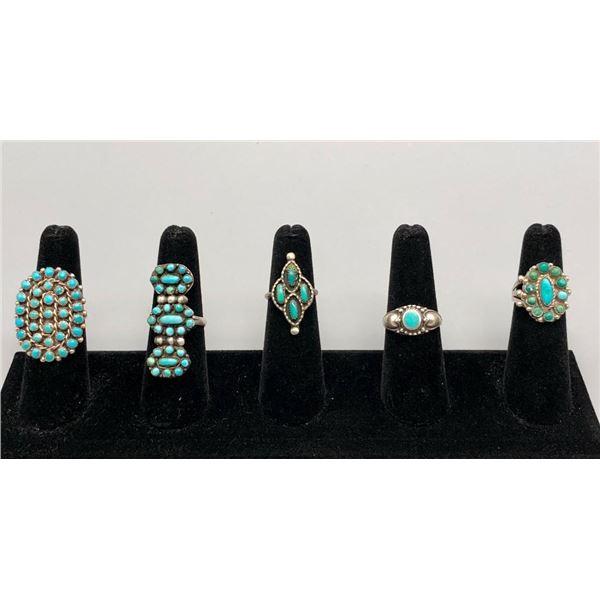 Five Fun Vintage Turquoise Rings
