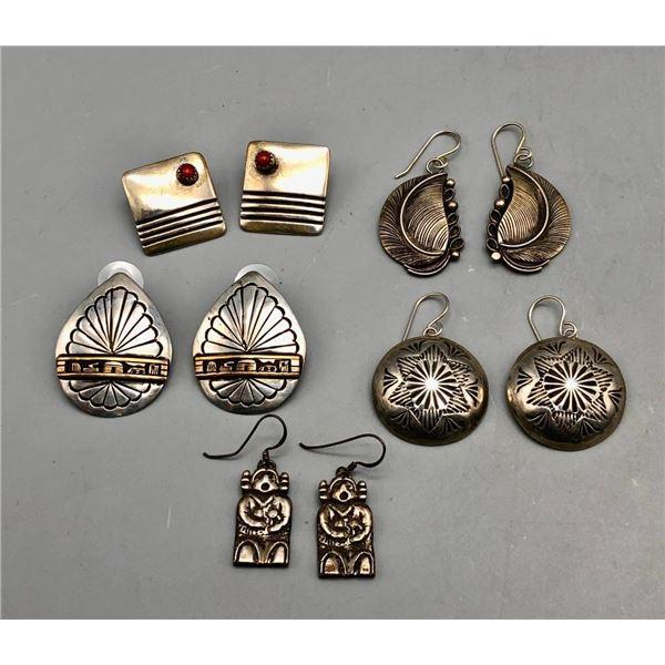 Group of Five Pairs of Earrings