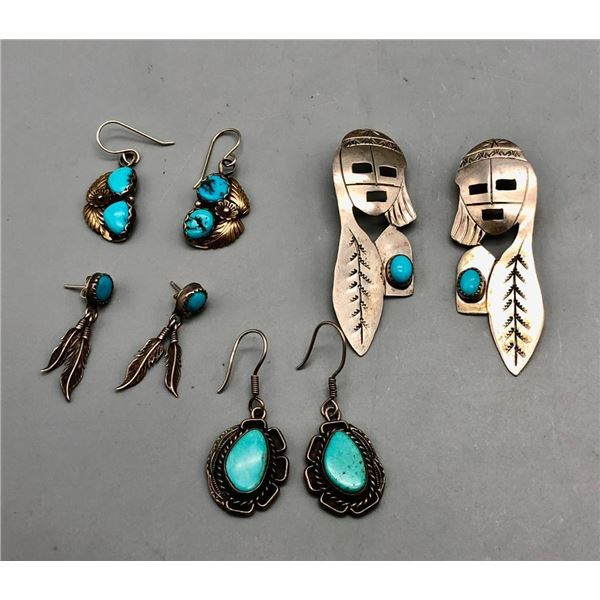 Group of Four Pairs of Earrings