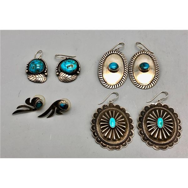 Group of Four Pairs of Vintage Earrings