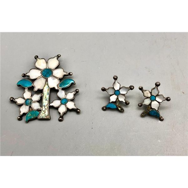 Flowery Vintage Inlay Pendant and Earring Set