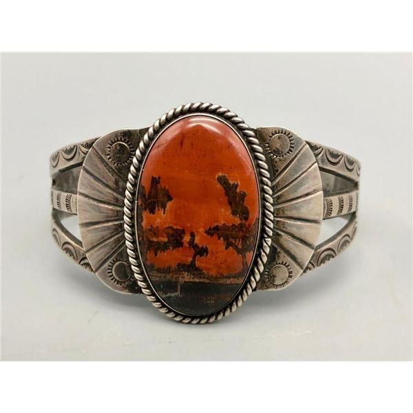 Vintage Handmade Bracelet with Petrified Wood