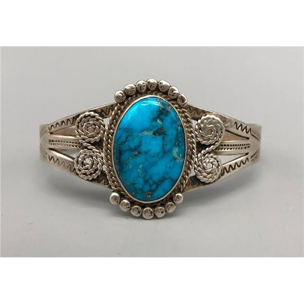Eye-Catching Vintage Sterling Silver and Turquoise Bracelet