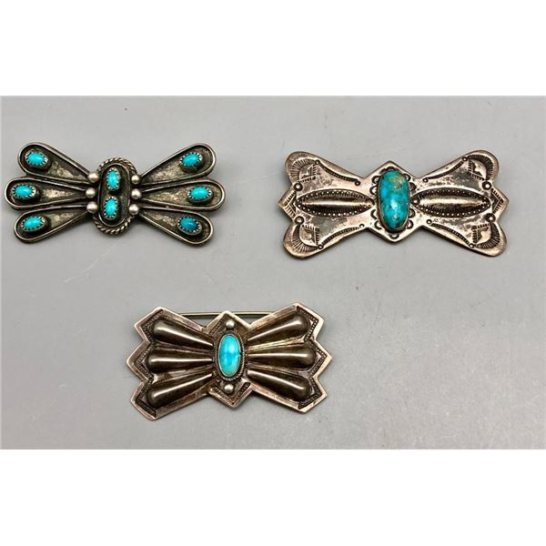 Group of Three Vintage Sterling Silver and Turquoise Pins