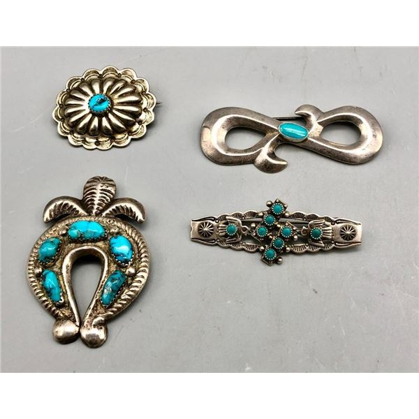Group of Four Vintage Sterling Silver and Turquoise Pins