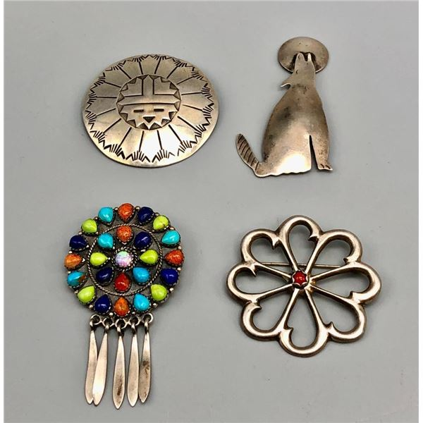 Group of Four Various Sterling Silver Pins