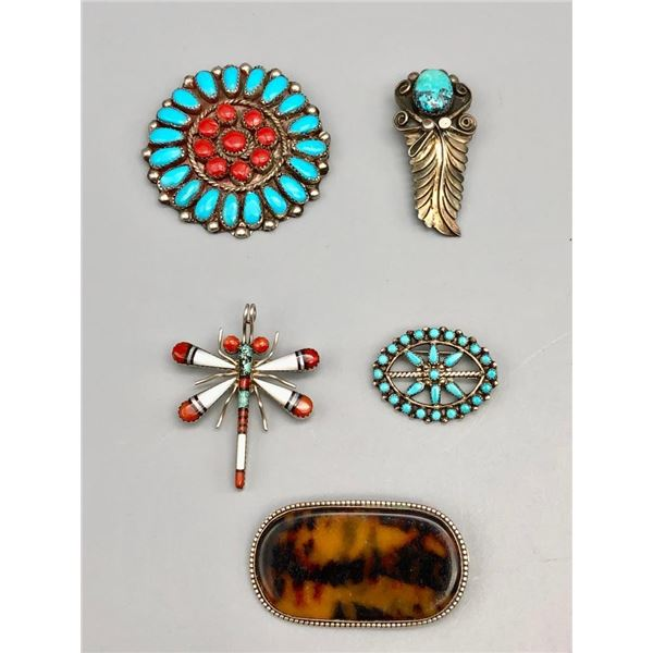 Group of Five Pin/Pendants