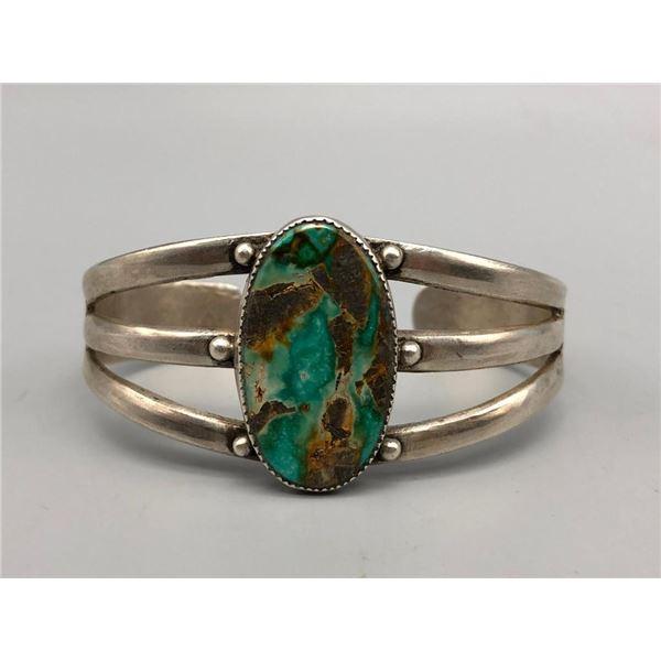 Vintage Handmade Turquoise and Sterling Silver Bracelet