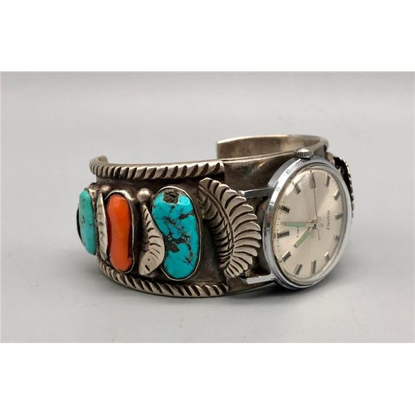 Great Turquoise and Coral Watch Bracelet