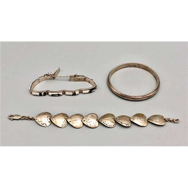 Group of Three Sterling Silver Bracelets