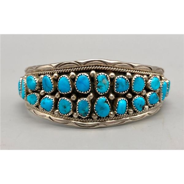 Sterling Silver and Turquoise Cluster Bracelet