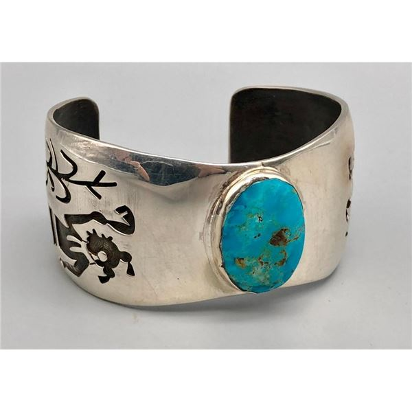Hopi Turquoise and Sterling Silver Overlay Bracelet