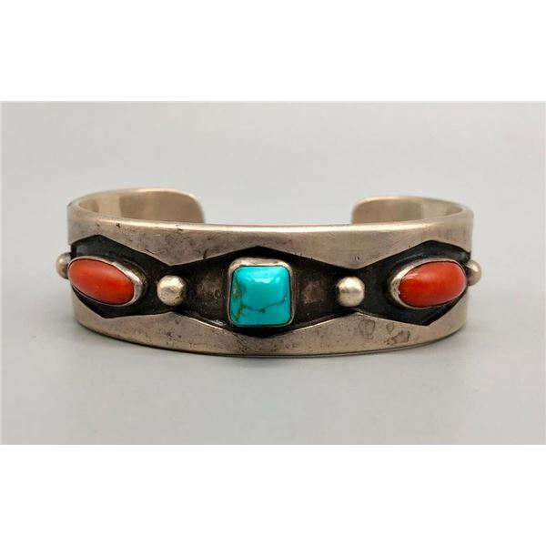 Fairly Early Tommy Singer Turquoise and Coral Bracelet
