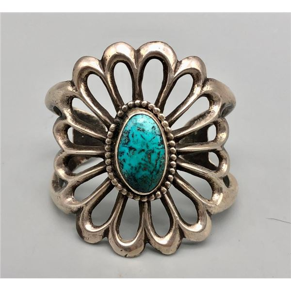 Lovely Sandcast and Turquoise Bracelet