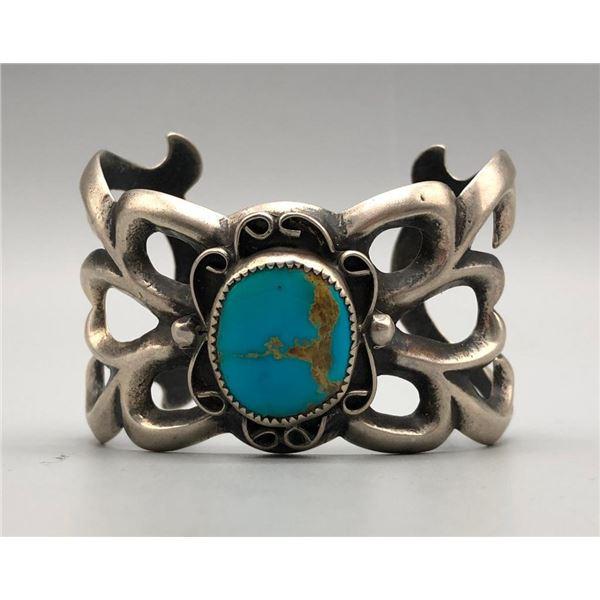 Larger Turquoise Sandcast Bracelet