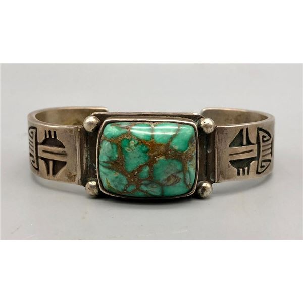 Great Turquoise and Sterling Silver Overlay Bracelet