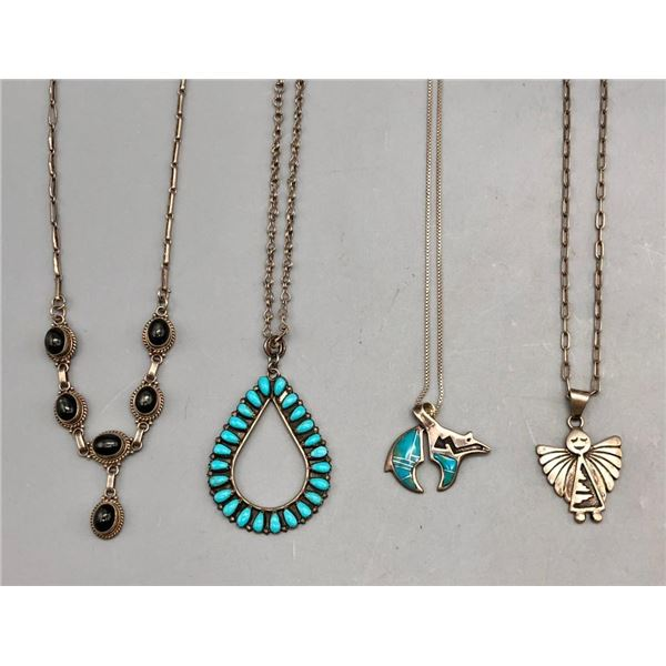 Four Various Sterling Silver Necklaces