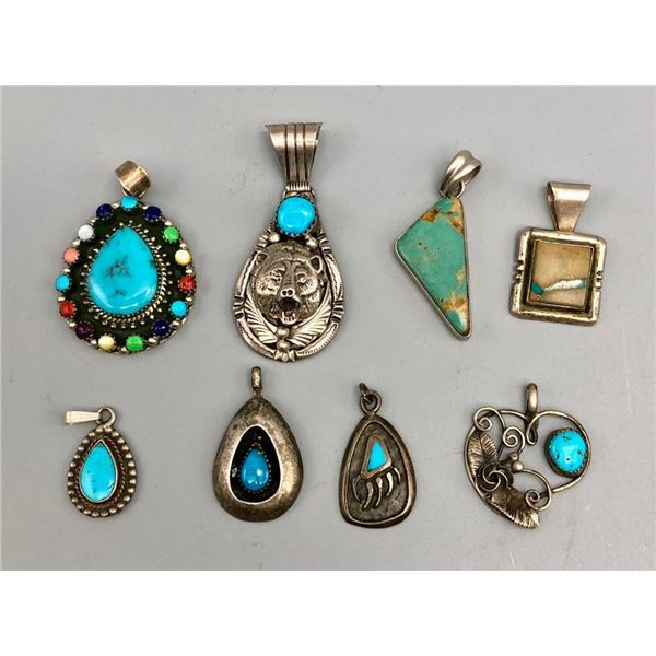 Eight Various Sterling Silver Pendants