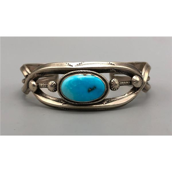 Sleeping Beauty Turquoise and Sterling Silver Bracelet