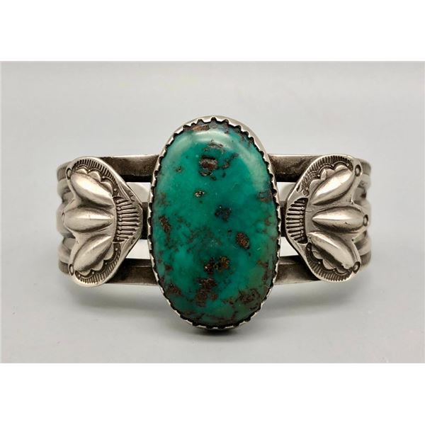 Hand Wrought Bracelet with Old Green Turquoise