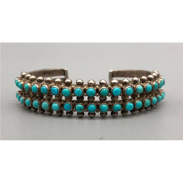 Two Row Turquoise Snake Eye Bracelet