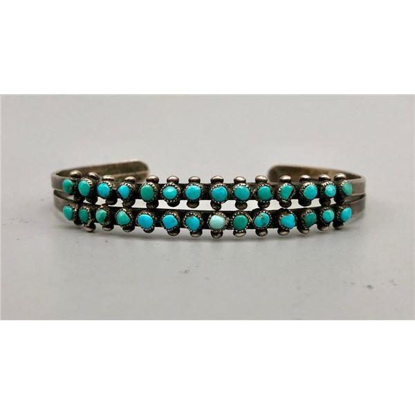 Vintage Two Row Turquoise Snake Eye Bracelet
