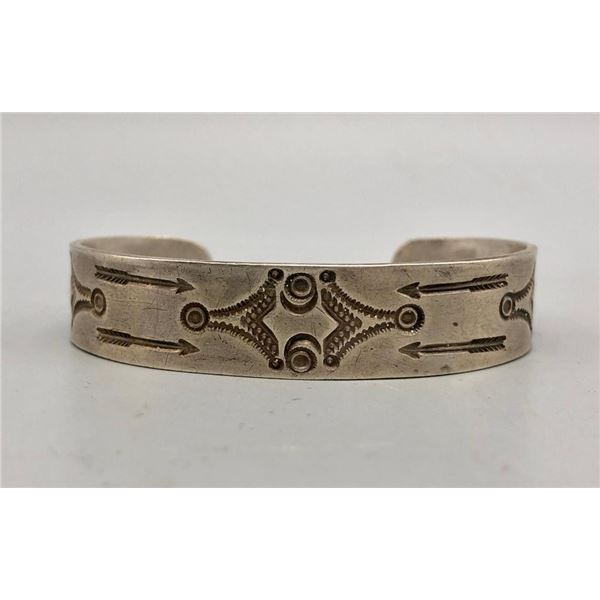 1930s Handmade Silver Bracelet with Stamping