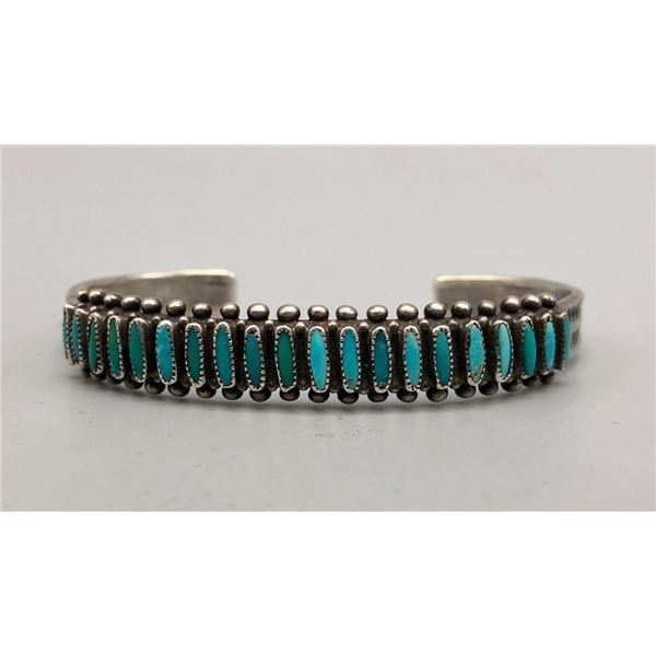 1940s Handmade Turquoise Needlepoint Bracelet