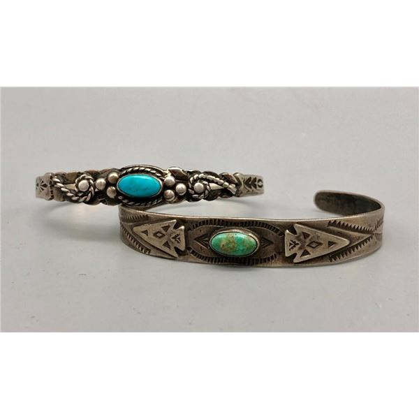 Two Old Sterling Silver and Turquoise Bracelets