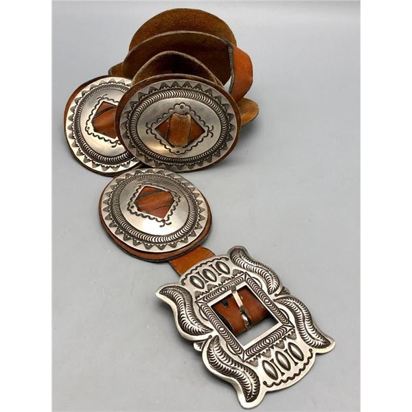 Sterling Silver Concho Belt on Brown Leather