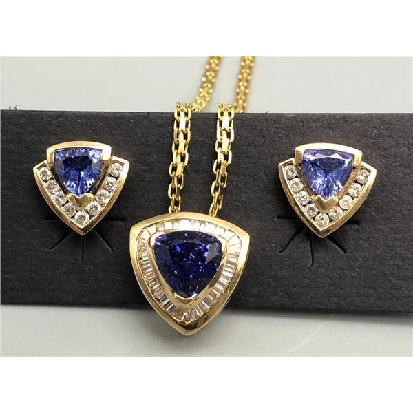 14k Gold Diamond and Tanzanite Set