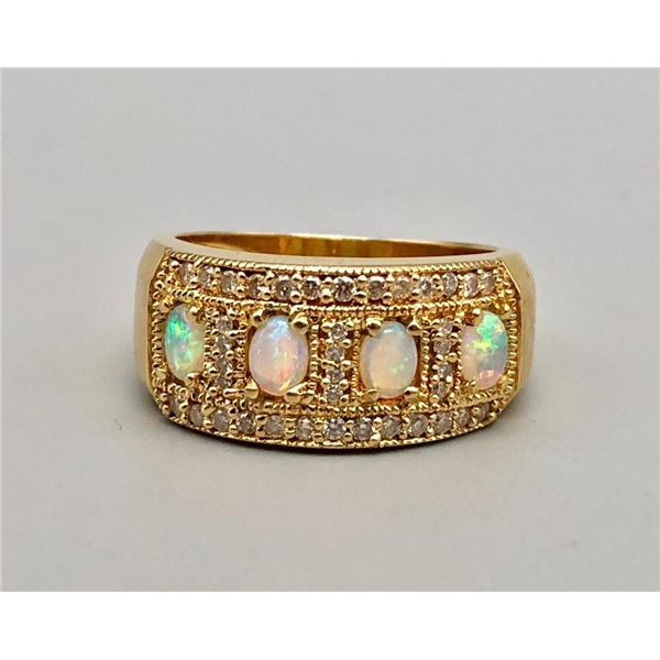 14k Gold Diamond and Opal Estate Ring