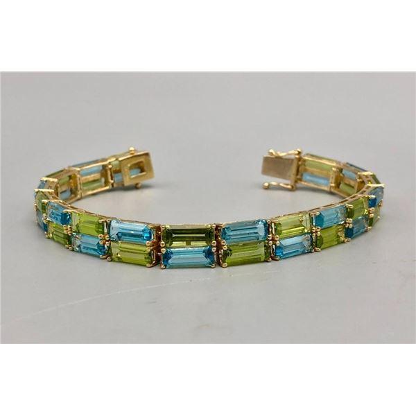 14k Gold Topaz and Peridot Tennis Bracelet