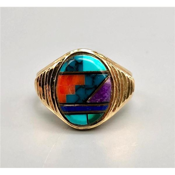 14k Gold and Multi Stone Inlay Ring