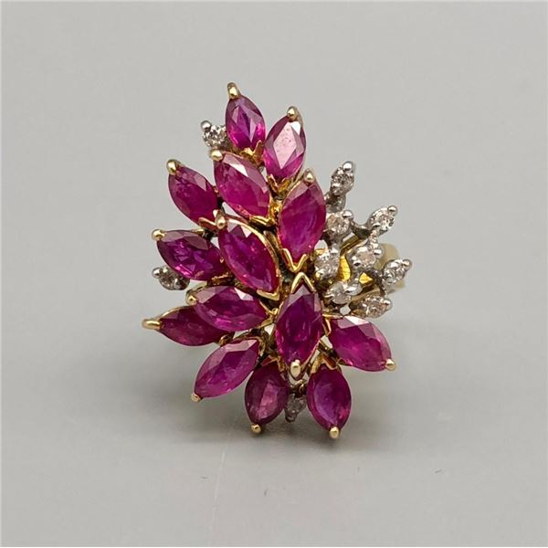 14k Gold Ruby and Diamond Estate Ring