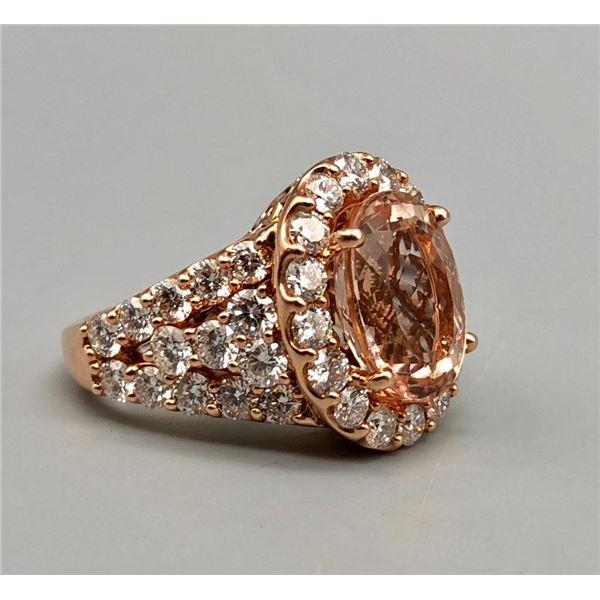 14k Gold Diamond and Morganite Estate Ring